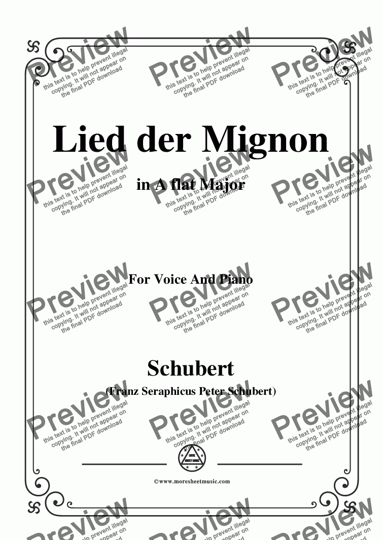 page one of Schubert-Lied der Mignon,in A flat Major,for Voice&Piano