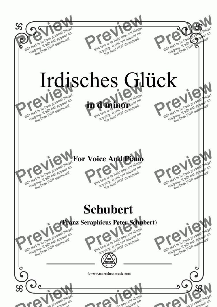 page one of Schubert-Irdisches Glück,Op.95 No.4,in d minor,for Voice&Piano