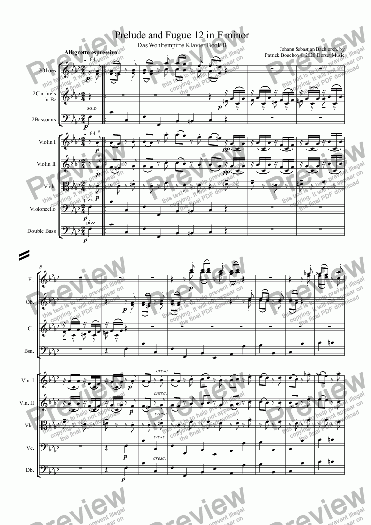 page one of Prelude 12 in F minor (Bach - Das Wohltempirte Klavier)