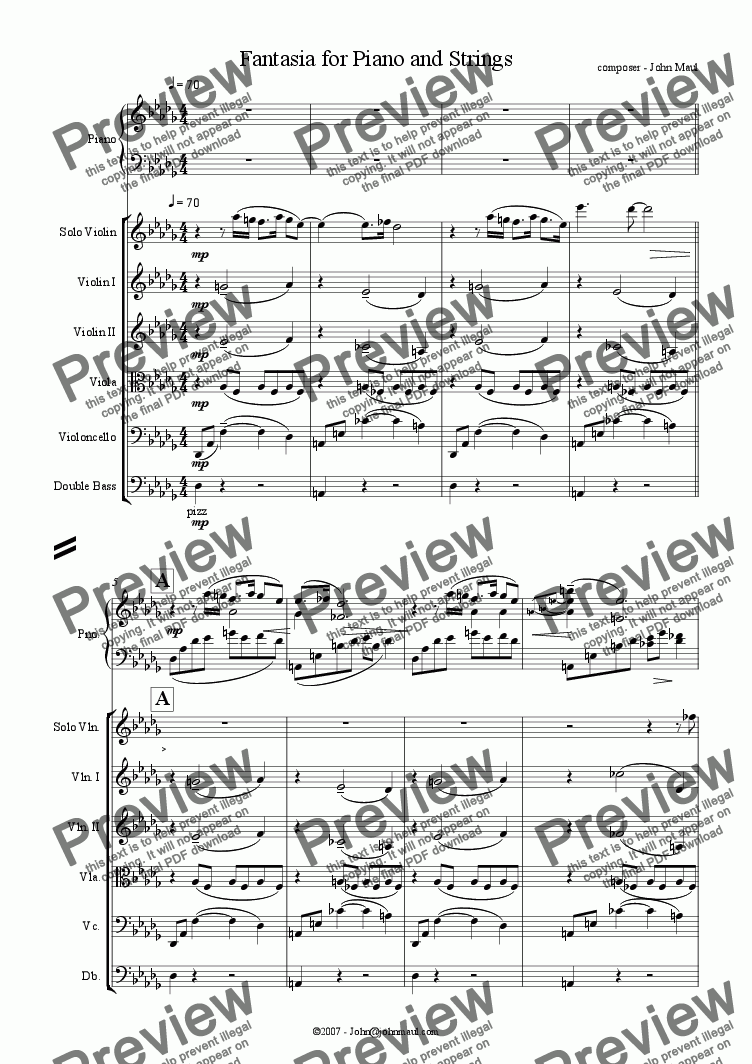 page one of Fantasia for Piano and Strings