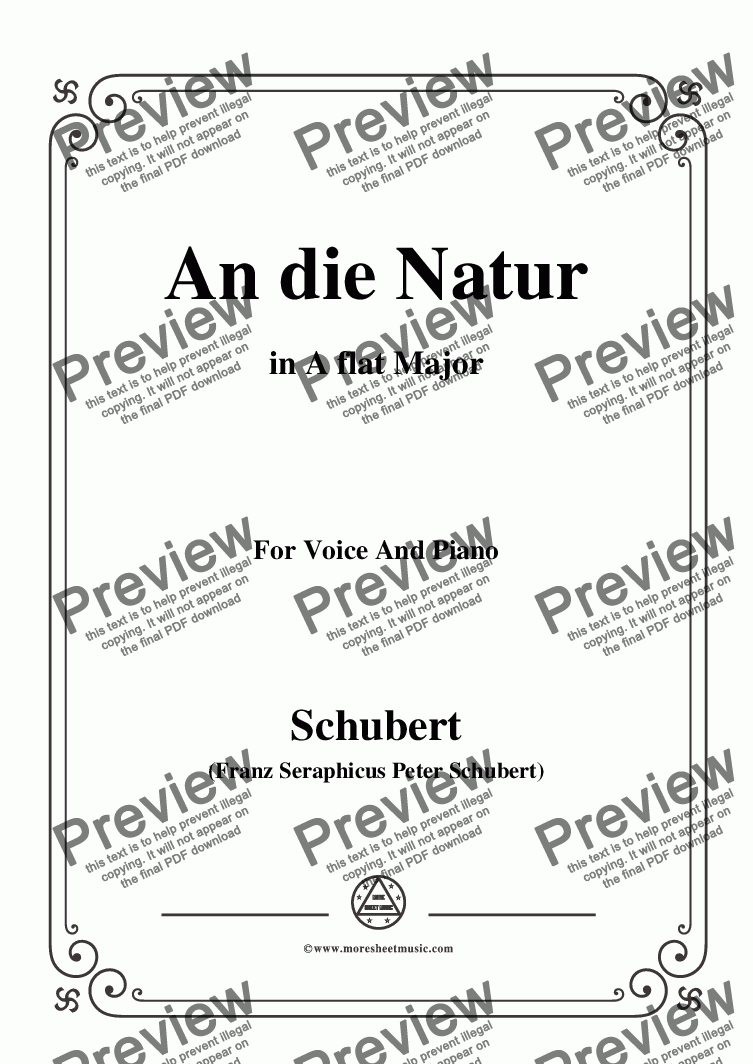 page one of Schubert-An die Natur,in A flat Major,for Voice&Piano
