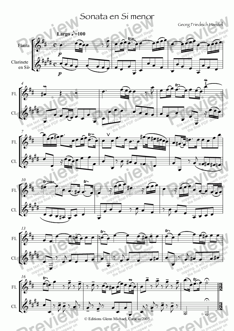 page one of Sonata en Si menor for Flute & Clarinet