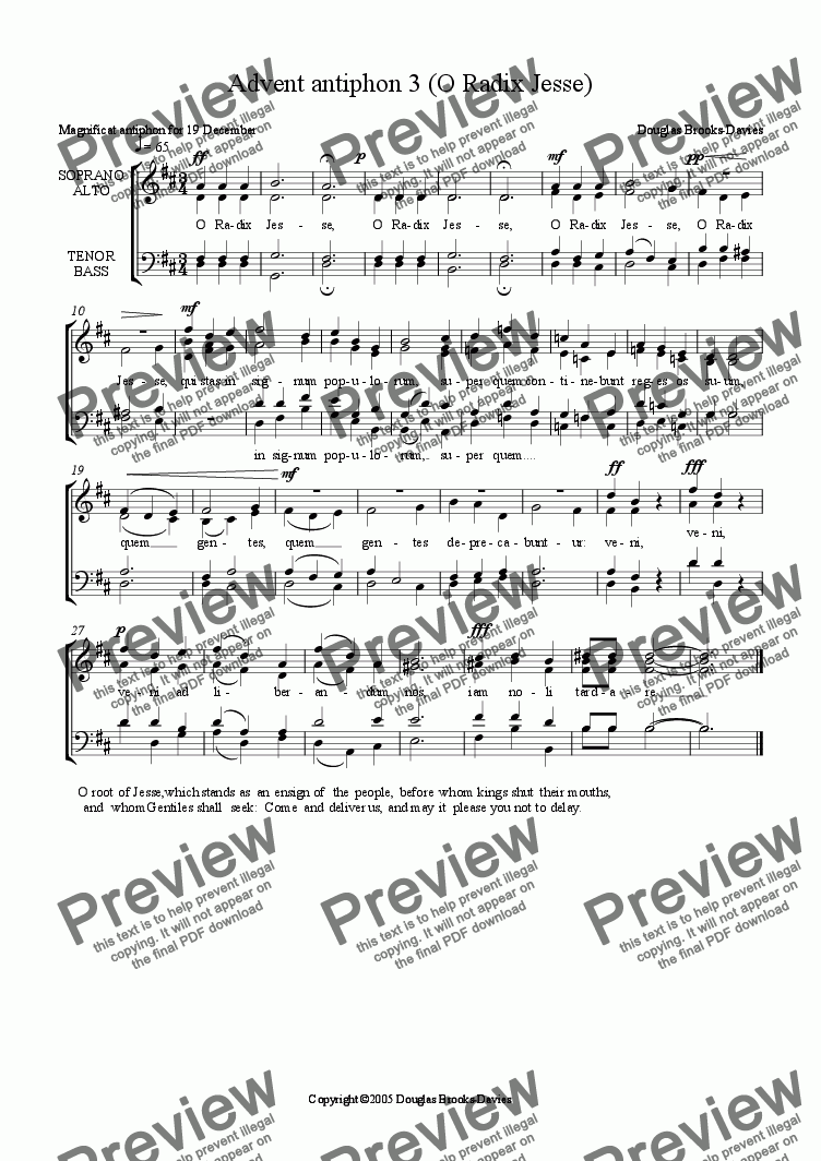 page one of Brooks-Davies: Advent antiphon 3 (O Radix Jesse) SATB choir a cappella