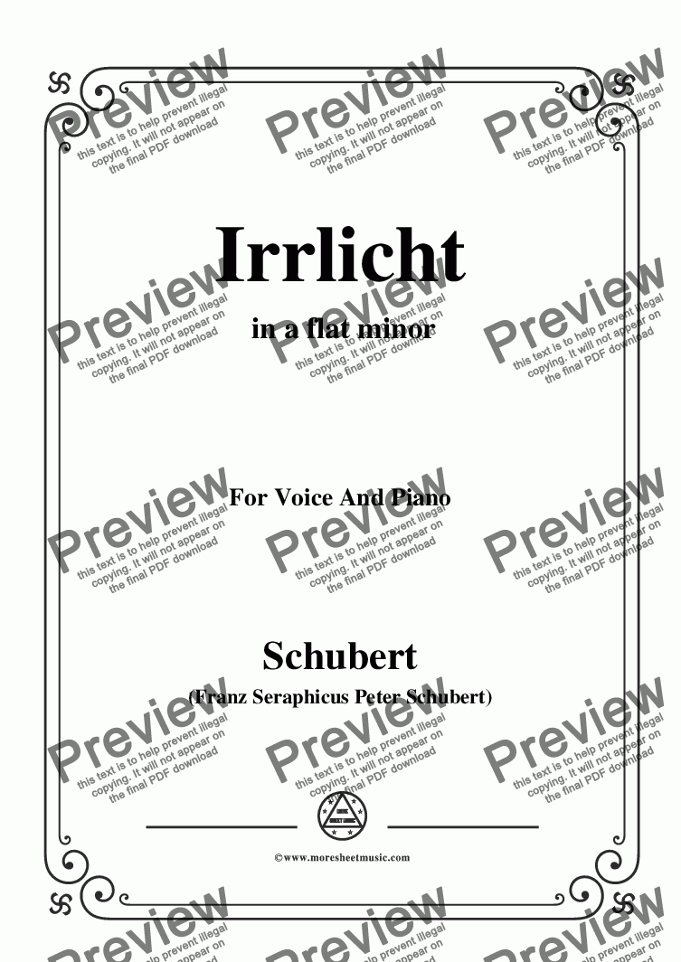 page one of Schubert-Irrlicht,from 'Winterreise',Op.89(D.911) No.9,in a flat minor,for Voice&Piano