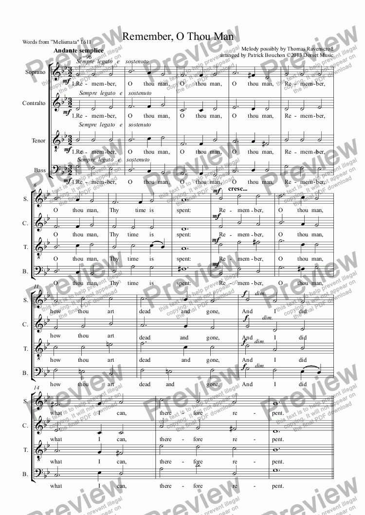 page one of Remember, O Thou Man (SATB)