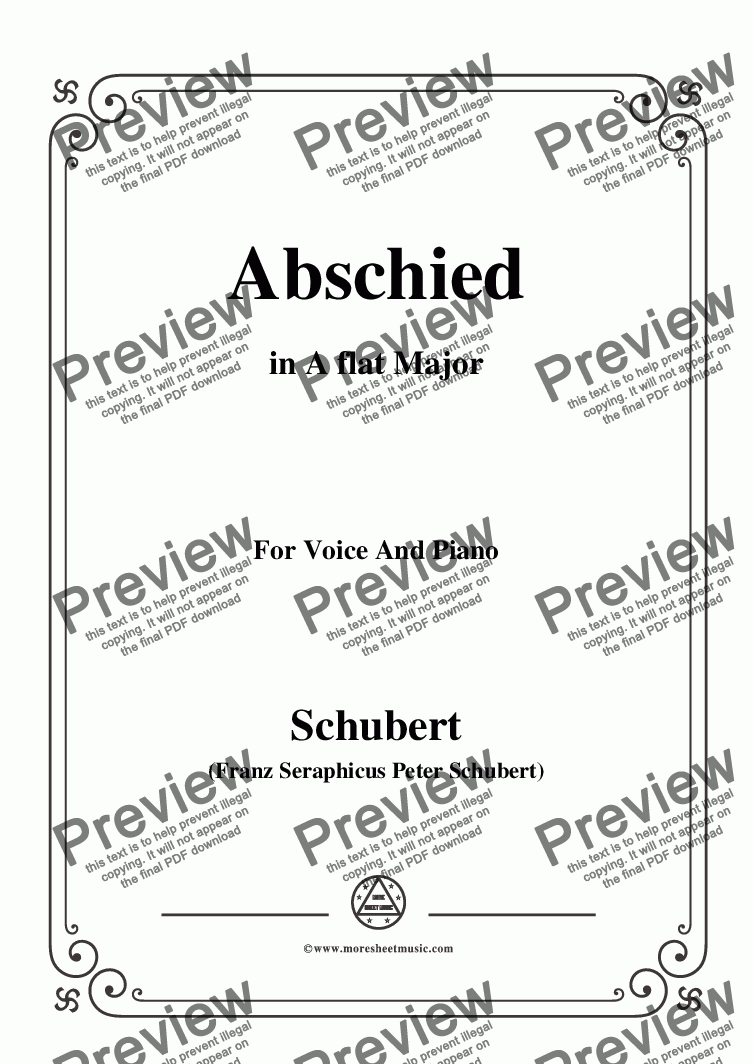 page one of Schubert-Abschied,in A flat Major,for Voice&Piano