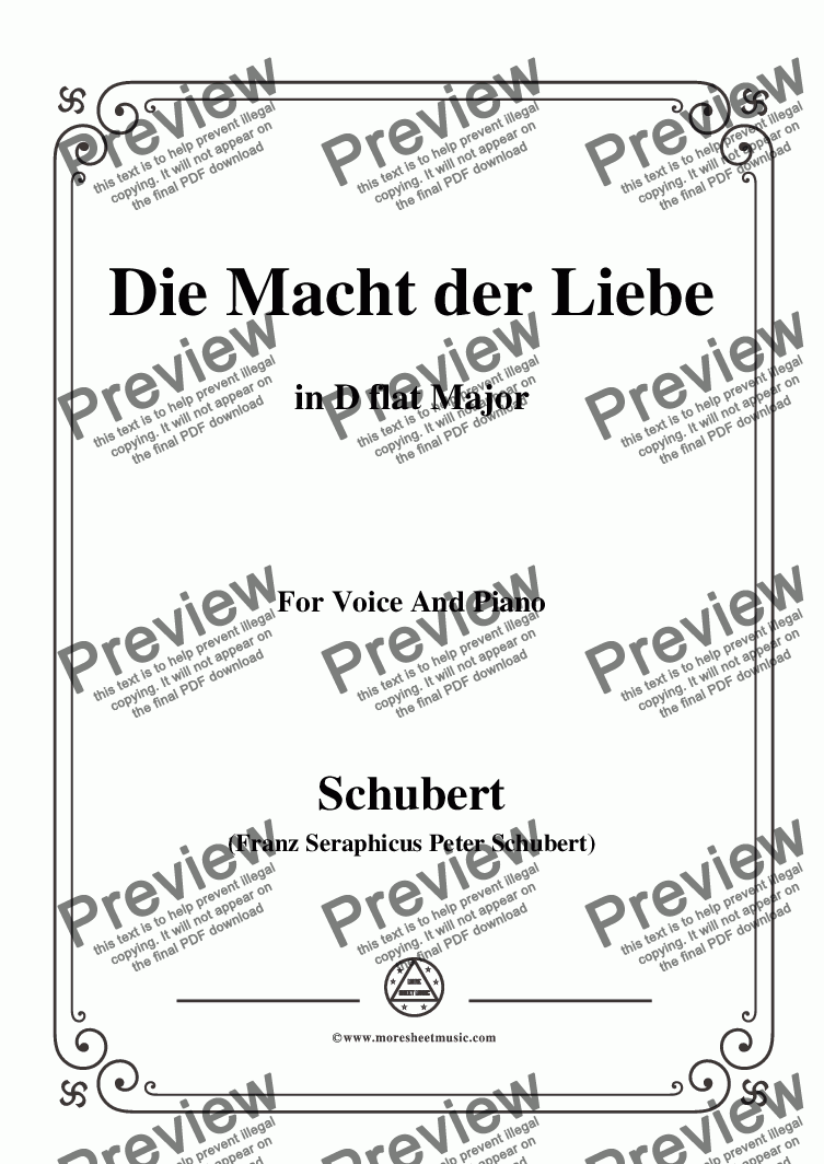 page one of Schubert-Die Macht der Liebe,in D flat Major,for Voice&Piano