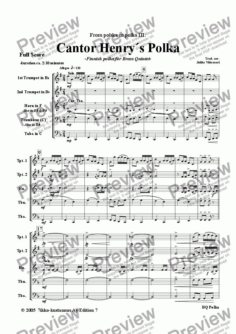 page one of Cantor Henry´s Polka (brass quintet)