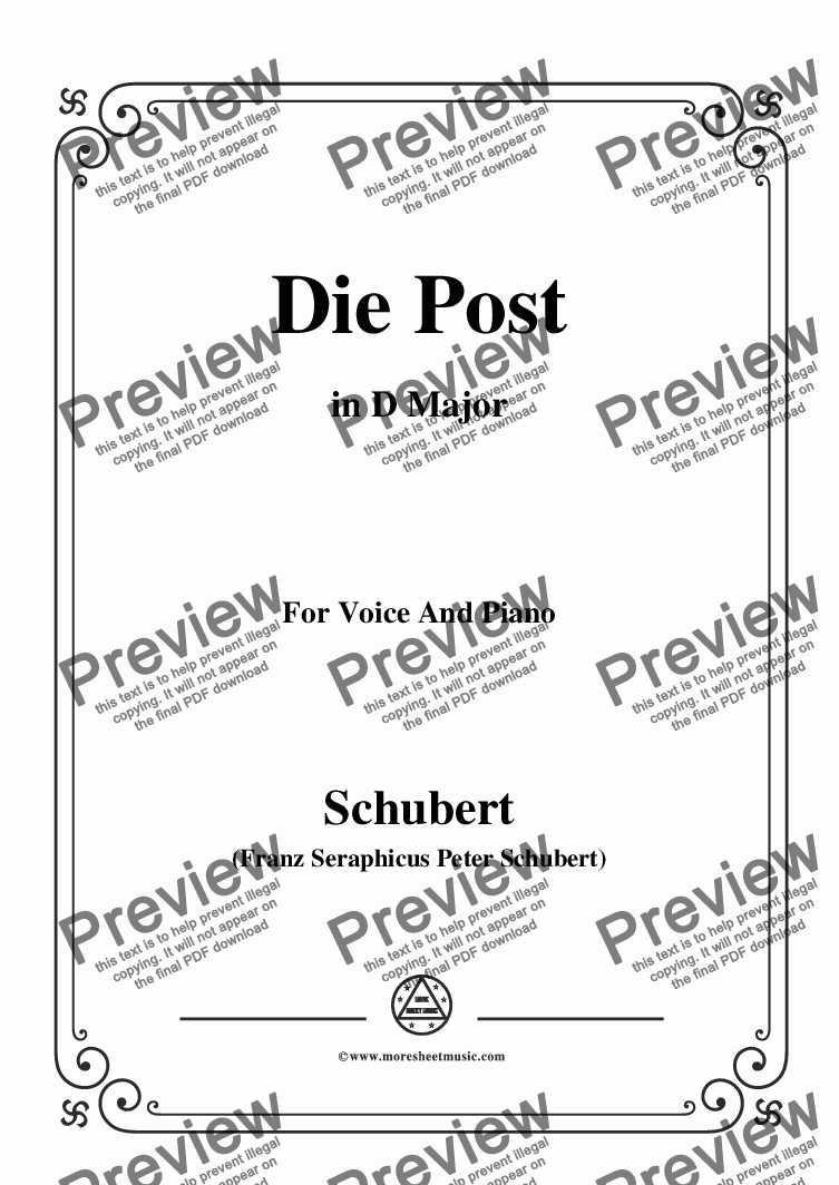 page one of Schubert-Die Post,from 'Winterreise',Op.89(D.911) No.13,in D Major,for Voice&Piano