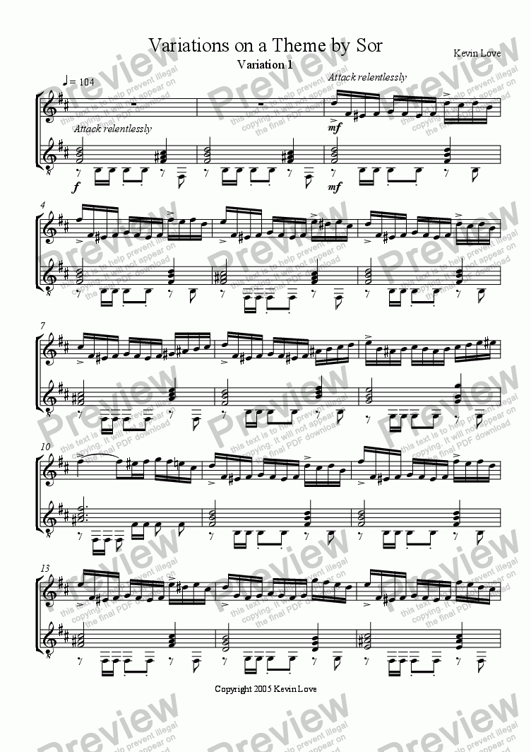 page one of Variations on a Theme by Sor (Violin and Guitar) - Var. 1