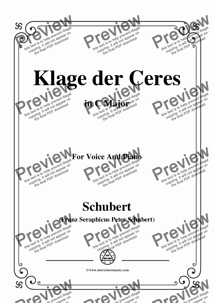 page one of Schubert-Klage der Ceres,in C Major,for Voice&Piano