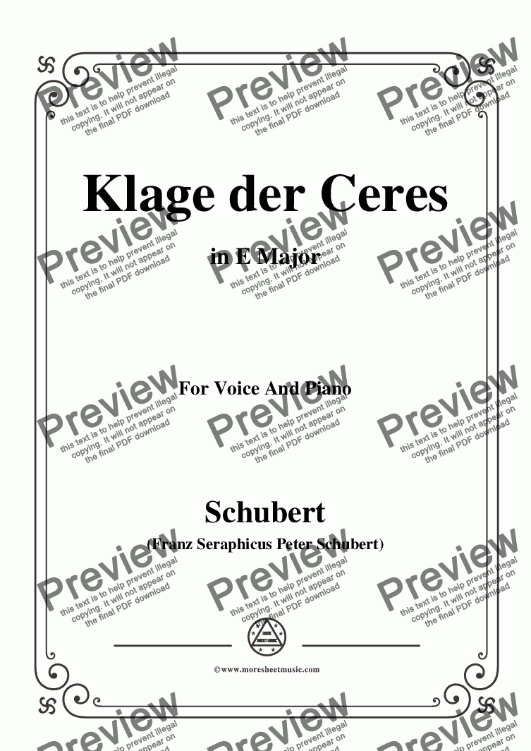 page one of Schubert-Klage der Ceres,in E Major,for Voice&Piano