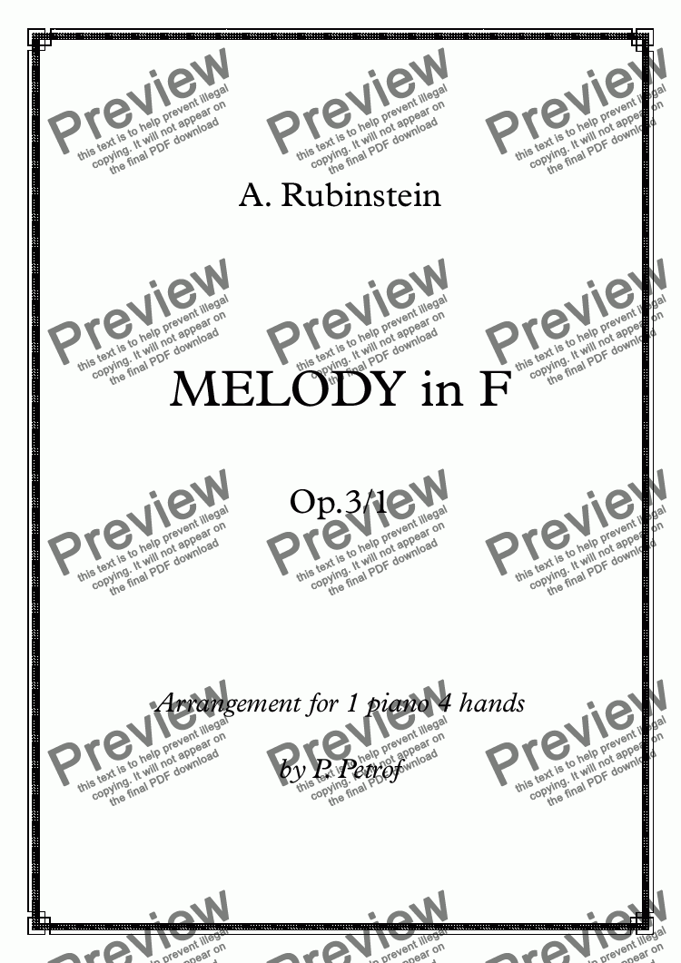 page one of Rubinstein - MELODY in F  Op.3/1  for 1 piano 4 hands