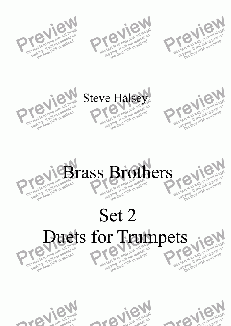page one of Brass Brothers Set 2 Duets for Trumpets