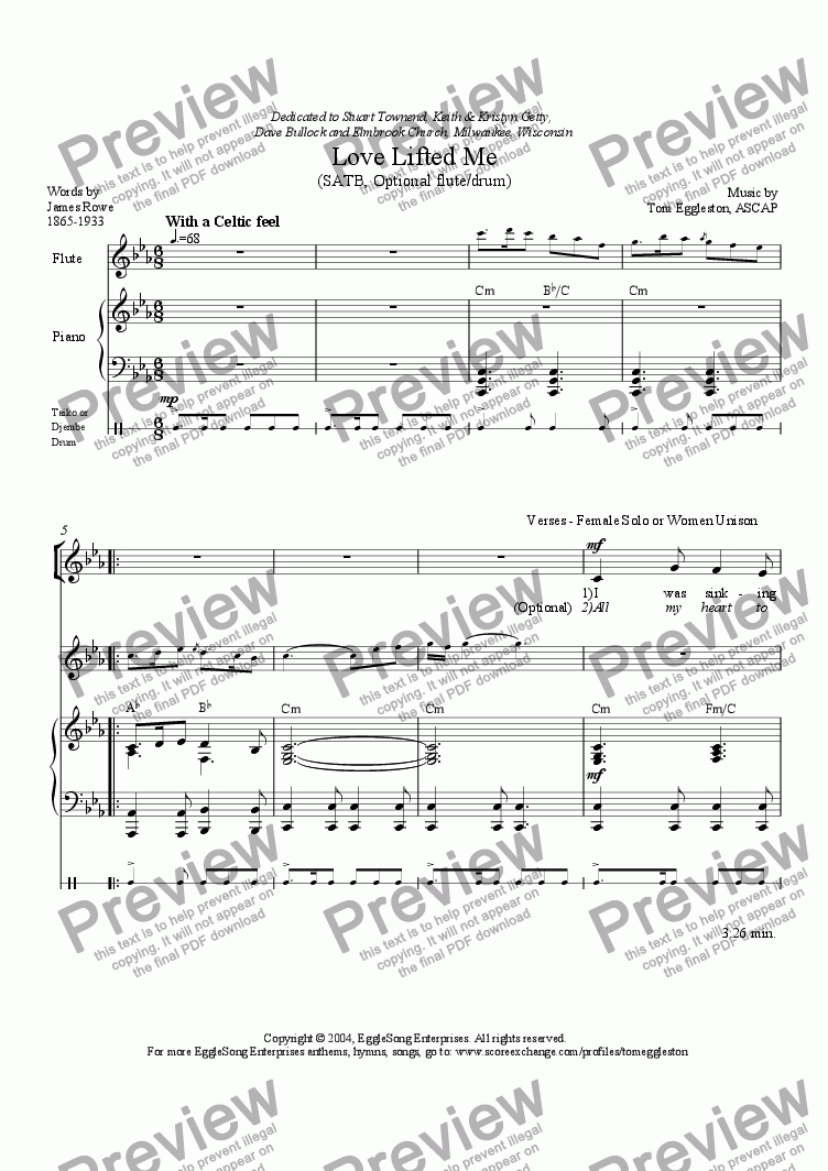 page one of Love Lifted Me, SATB revised