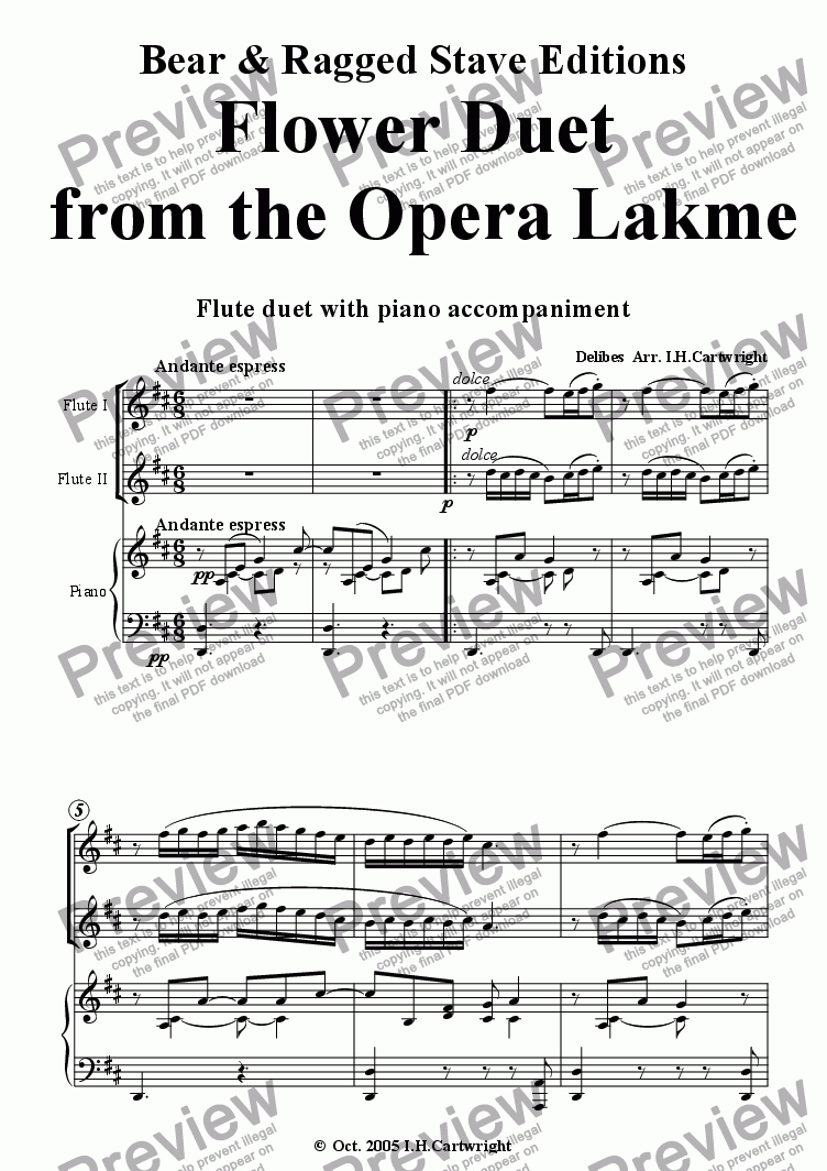 page one of Flower duet from the opera Lakme - flute duet