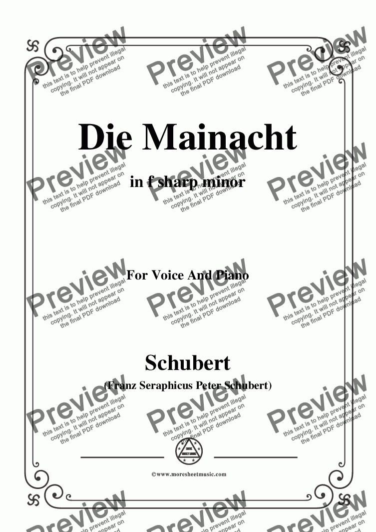 page one of Schubert-Die Mainacht,in f sharp minor,for Voice&Piano