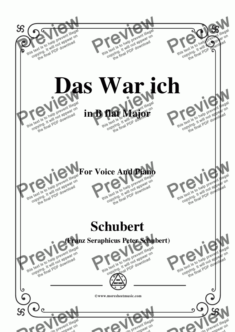 page one of Schubert-Das War ich,in B flat Major,for Voice&Piano