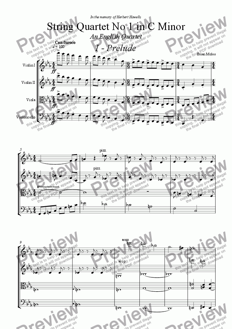 page one of String Quartet in C Minor