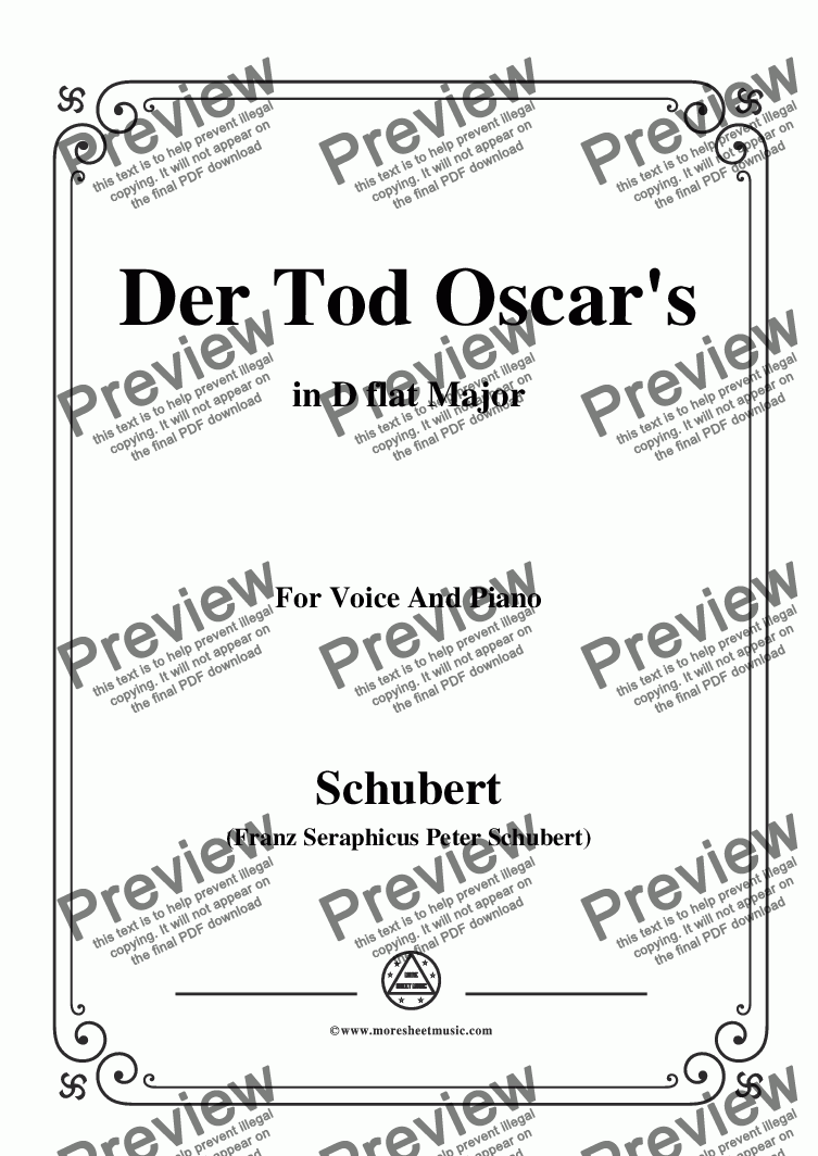 page one of Schubert-Der Tod Oscar's,in D flat Major,for Voice&Piano
