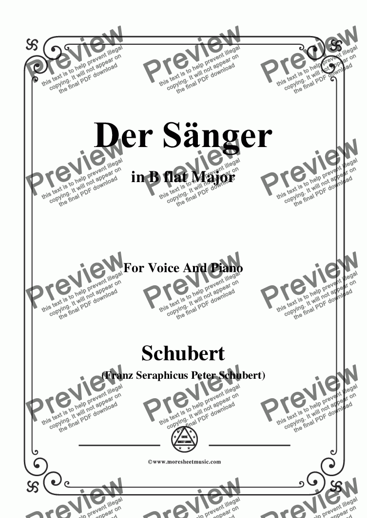 page one of Schubert-Der Sänger,Op.117,in B flat Major,for Voice&Piano