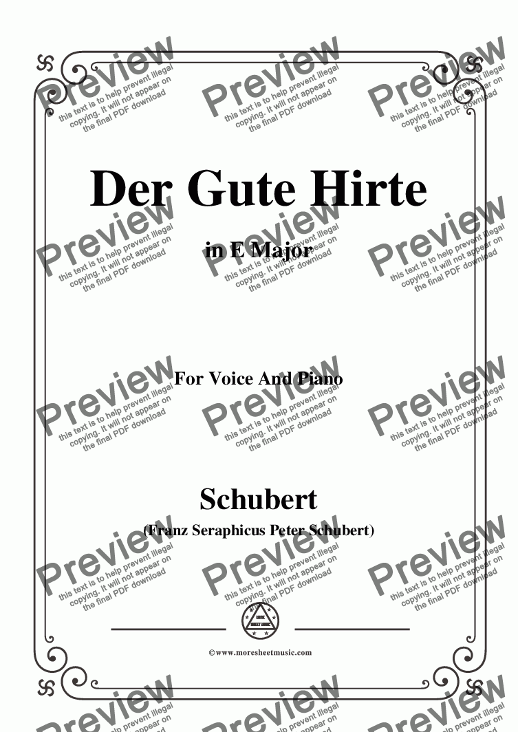 page one of Schubert-Der Gute Hirte,in E Major,for Voice&Piano
