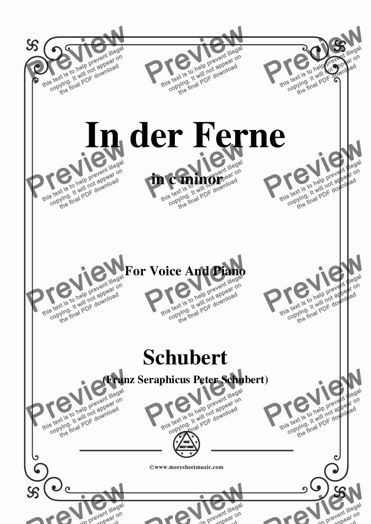 page one of Schubert-In der Ferne,in c minor,for Voice&Piano