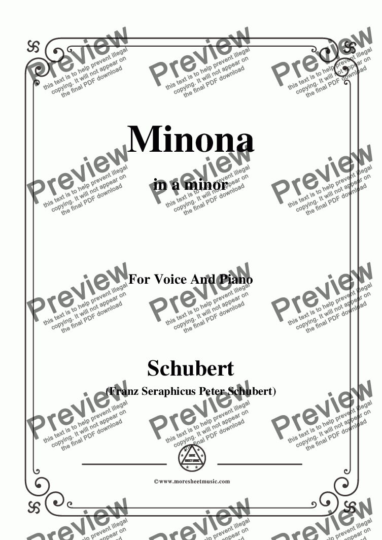page one of Schubert-Minona,in a minor,for Voice&Piano