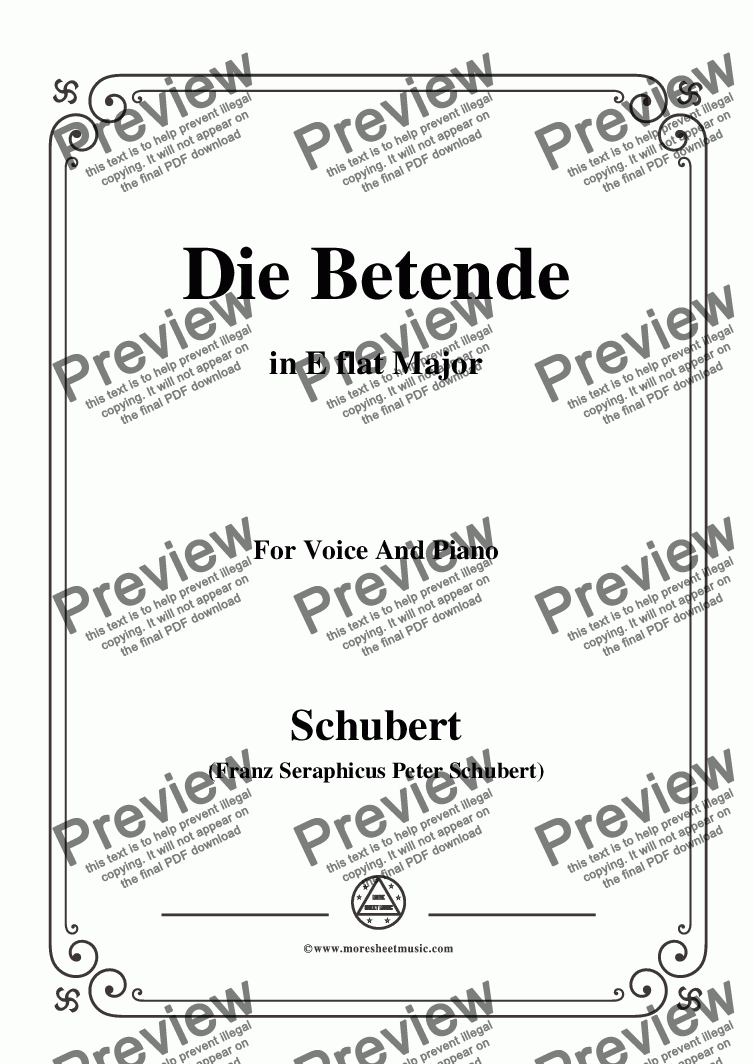 page one of Schubert-Die Betende,in E flat Major,for Voice&Piano