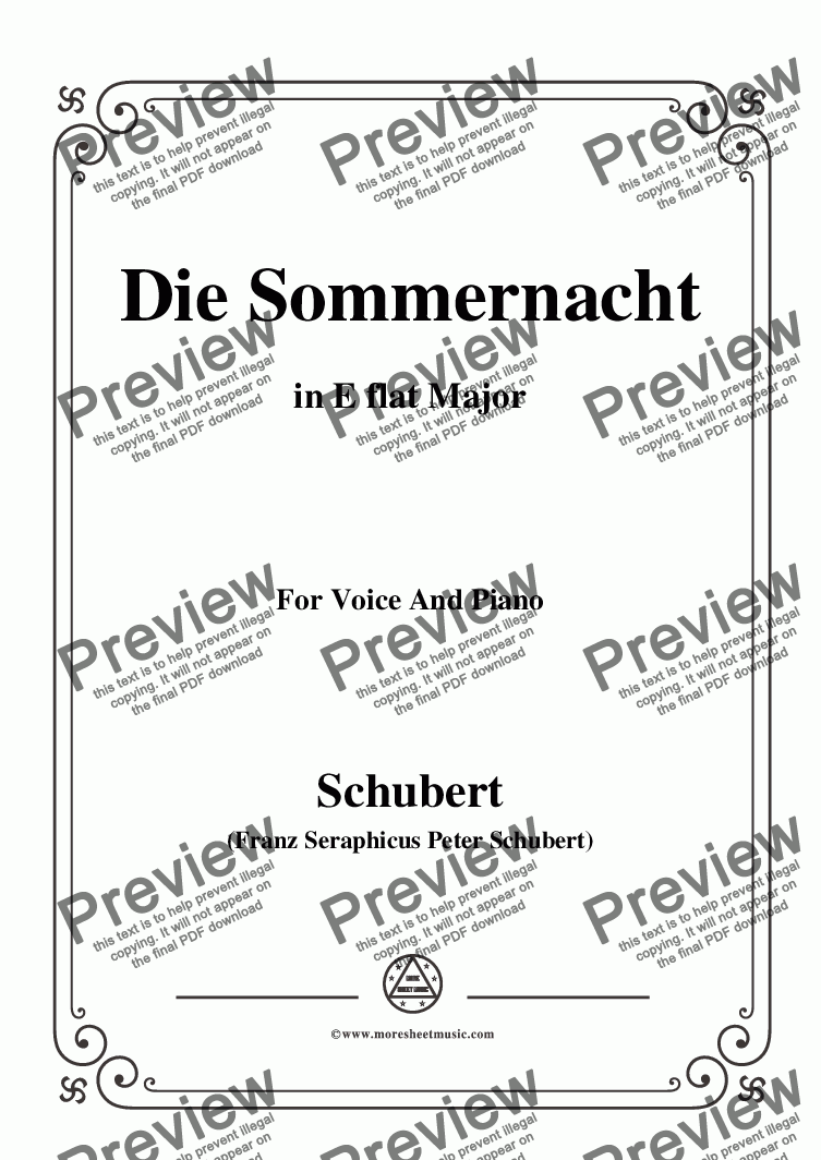 page one of Schubert-Die Sommernacht,in E flat Major,for Voice&Piano