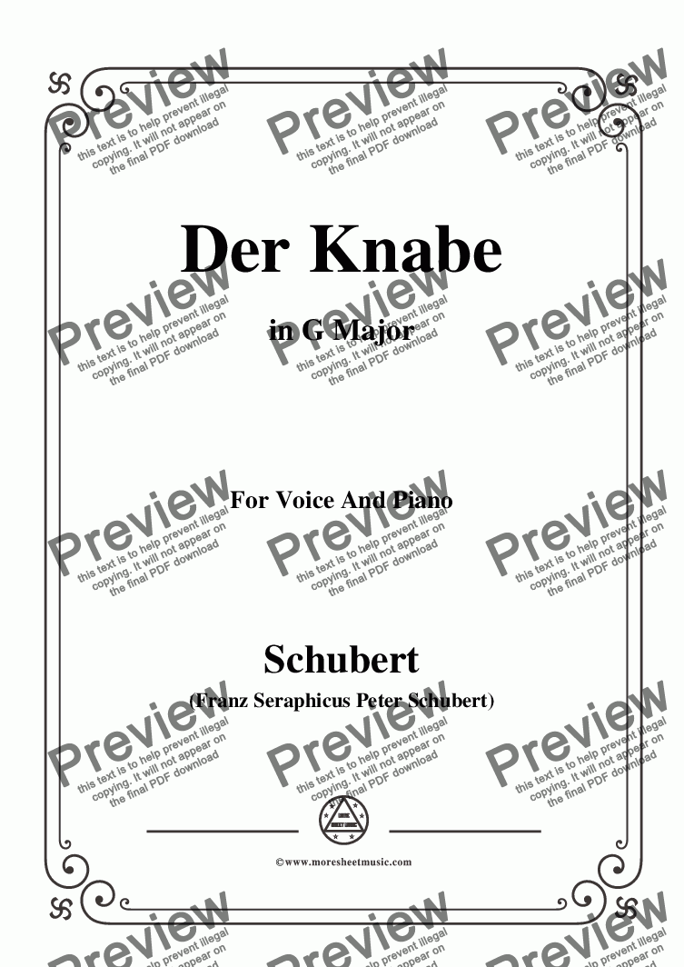 page one of Schubert-Der Knabe,in G Major,for Voice&Piano
