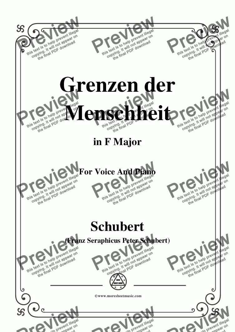 page one of Schubert-Grenzen der Menschheit,in F Major,for Voice&Piano