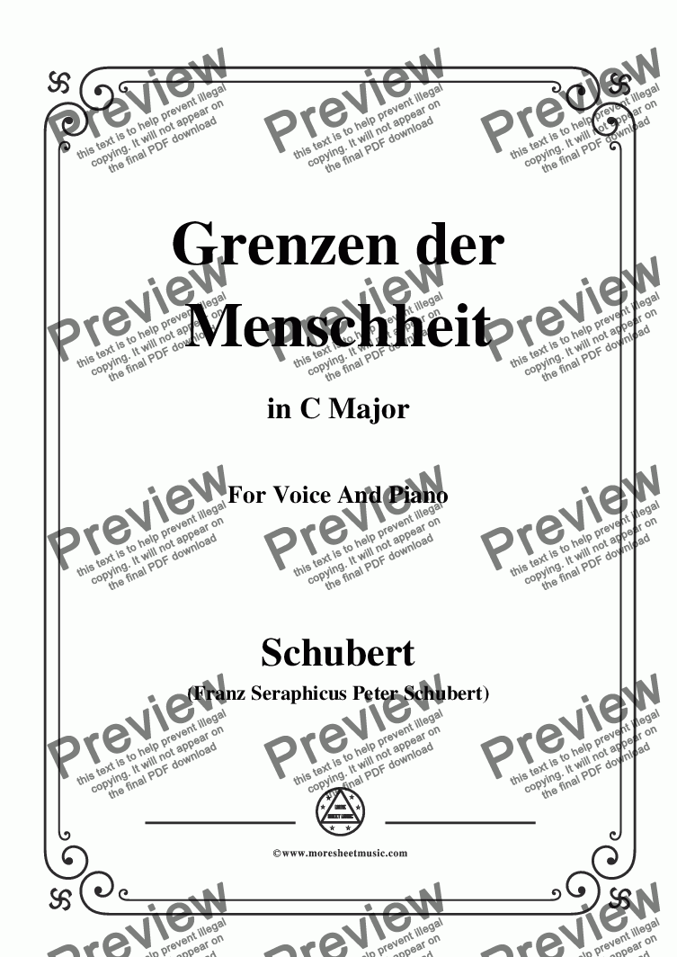 page one of Schubert-Grenzen der Menschheit,in C Major,for Voice&Piano