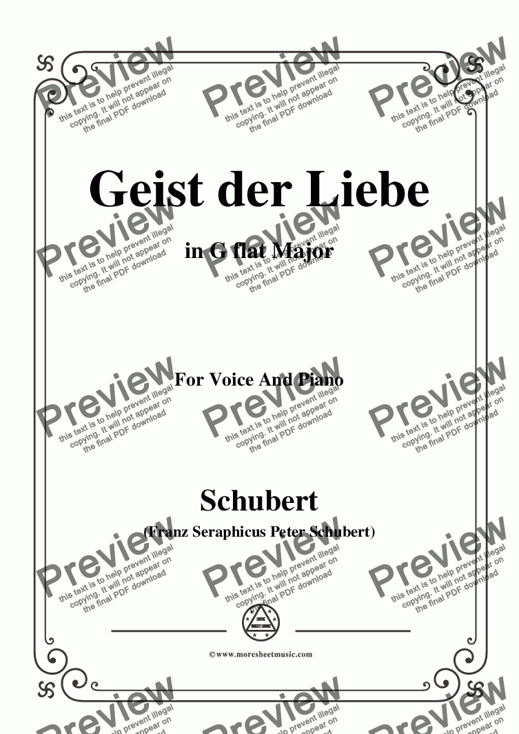 page one of Schubert-Geist der Liebe,Op.118 No.1,in G flat Major,for Voice&Piano