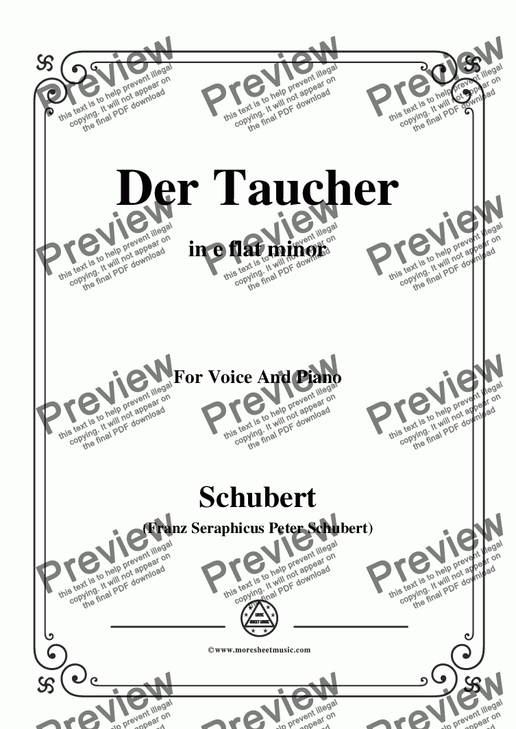 page one of Schubert-Der Taucher(The Diver),D.77,in e flat minor,for Voice&Piano