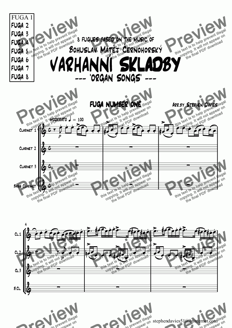 page one of Fugue No.1 VARHANNI SKLADBY -Organ Songs for Clarinet Quartet