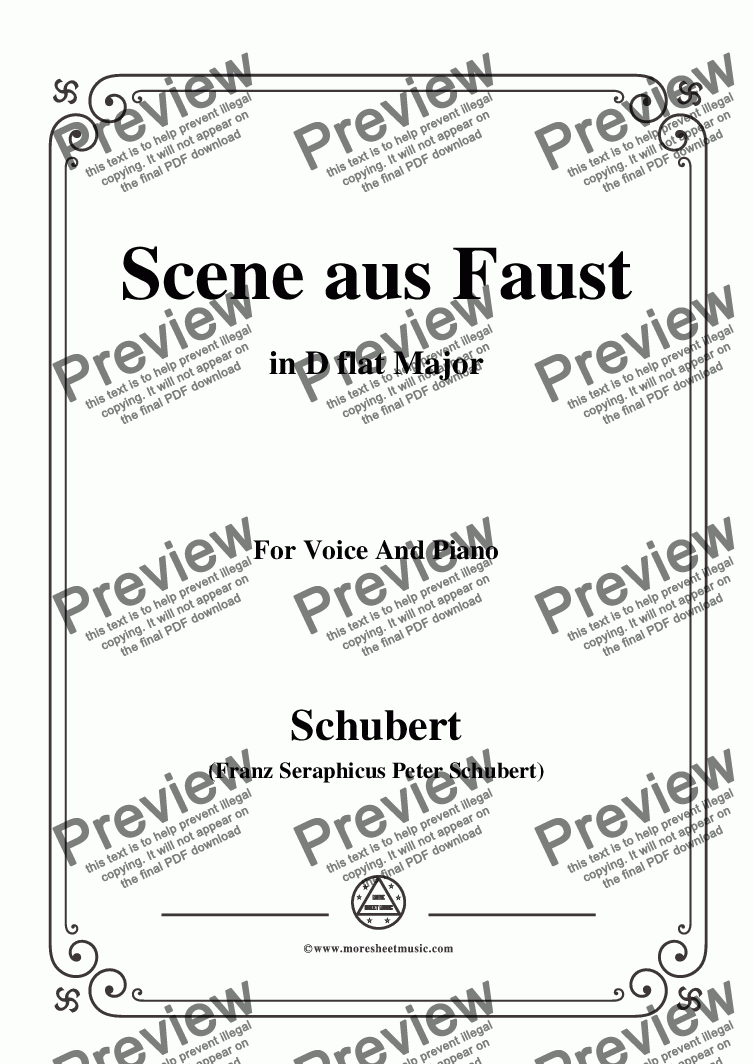 page one of Schubert-Scene aus Faust,in D flat Major,for Voice&Piano