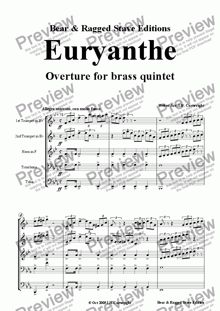 page one of Euryanthe Overture for brass quintet