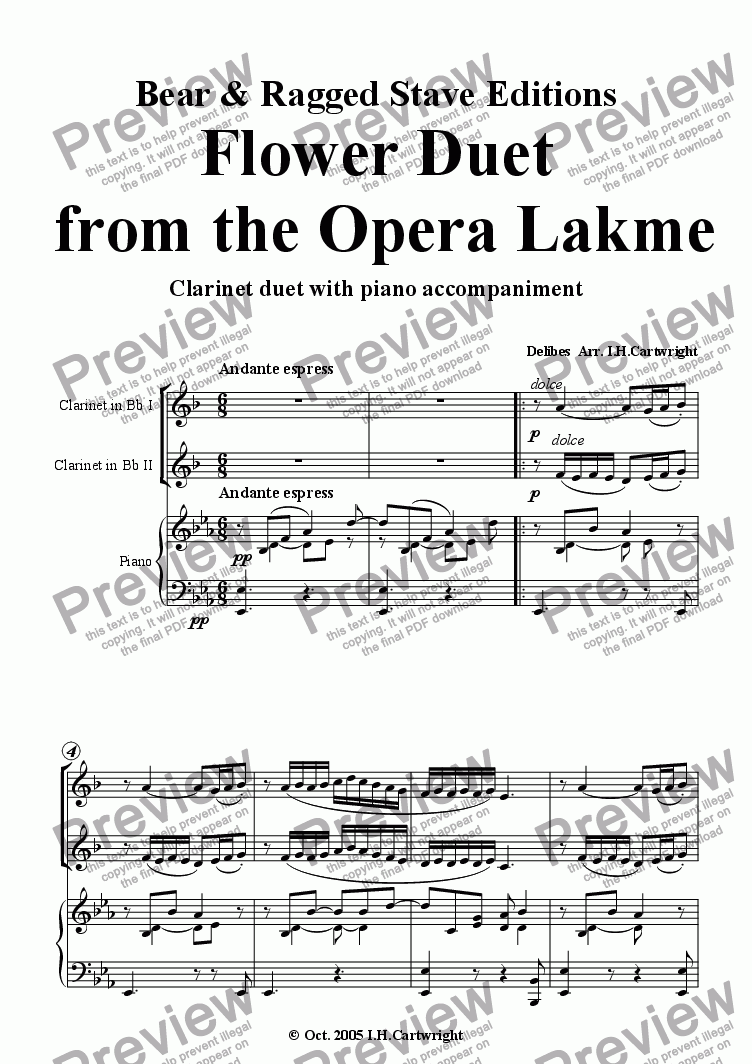 page one of Flower Duet from the opera Lakme - clarinet duet