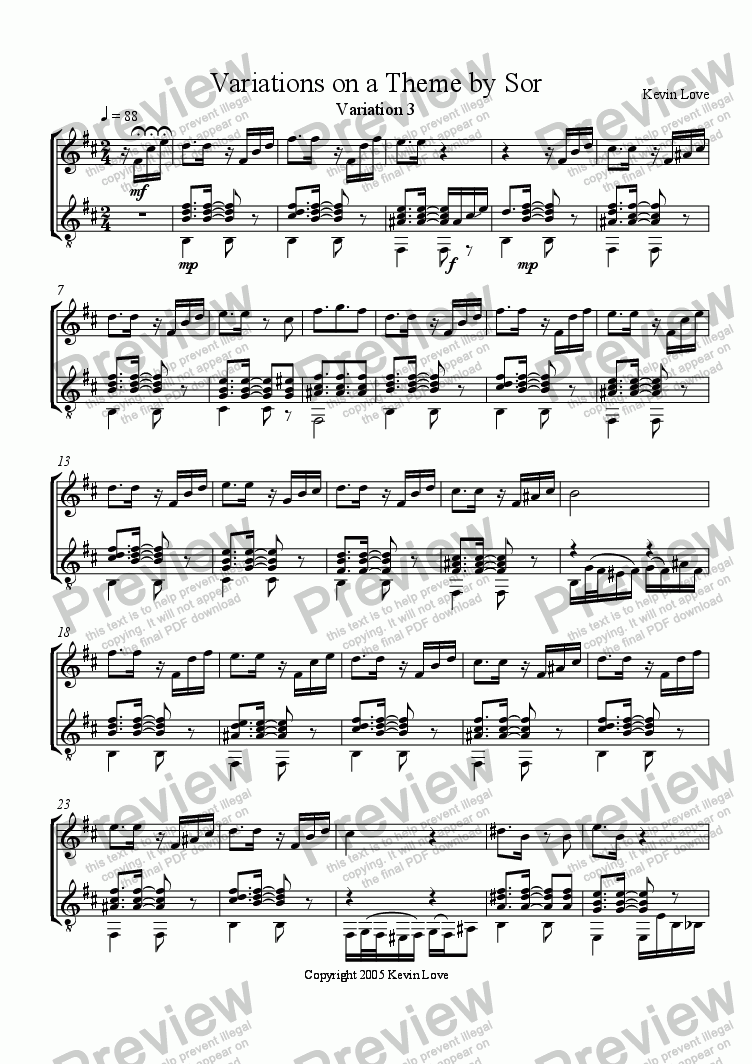 page one of Variations on a Theme by Sor (Flute and Guitar) - Var. 3ASALTTEXT