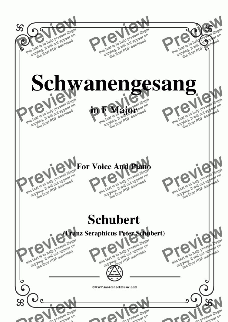 page one of Schubert-Schwanengesang,Op.23 No.3,in F Major,for Voice&Piano