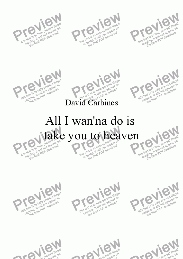 page one of Pop Song: 'All I want to do is take you to heaven' - David Carbines