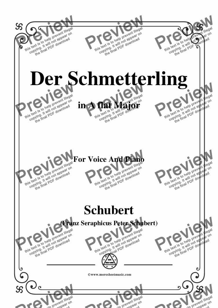 page one of Schubert-Der Schmetterling,Op.57 No.1,in A flat Major,for Voice&Piano