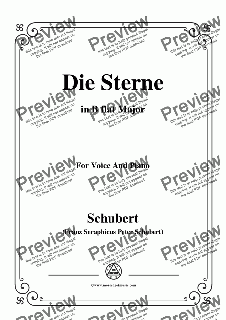 page one of Schubert-Die Sterne,in B flat Major,for Voice&Piano
