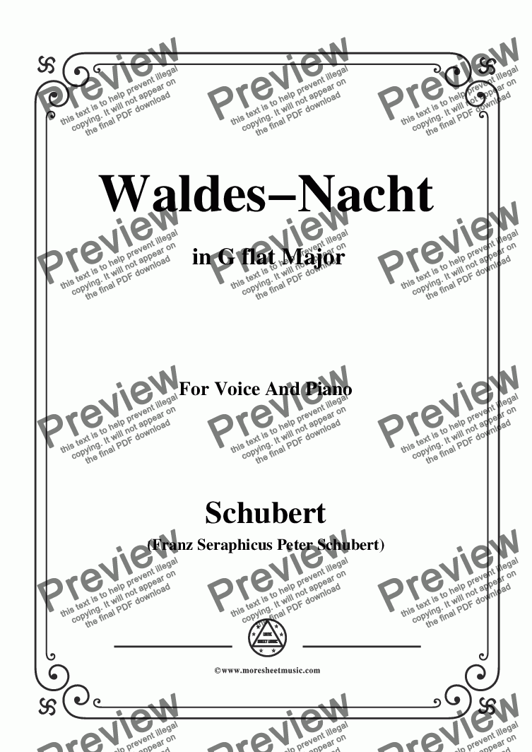 page one of Schubert-Waldes-Nacht,in G flat Major,for Voice&Piano