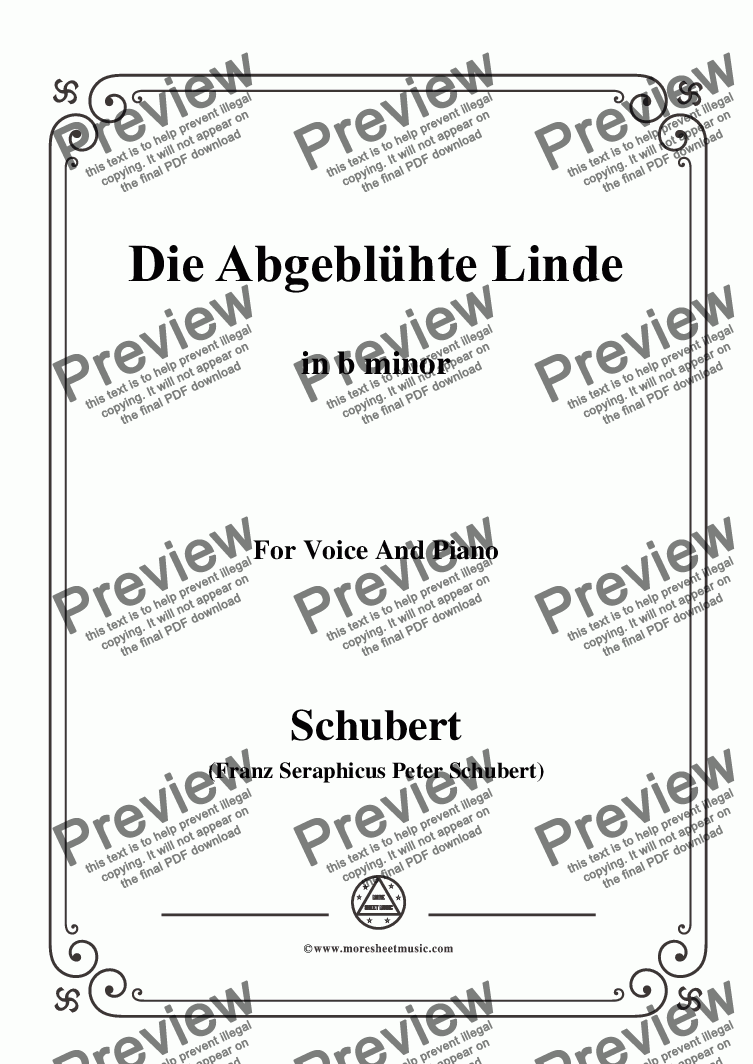 page one of Schubert-Die Abgeblühte Linde(The Faded Linden Tree),in b minor,for Voice&Pno