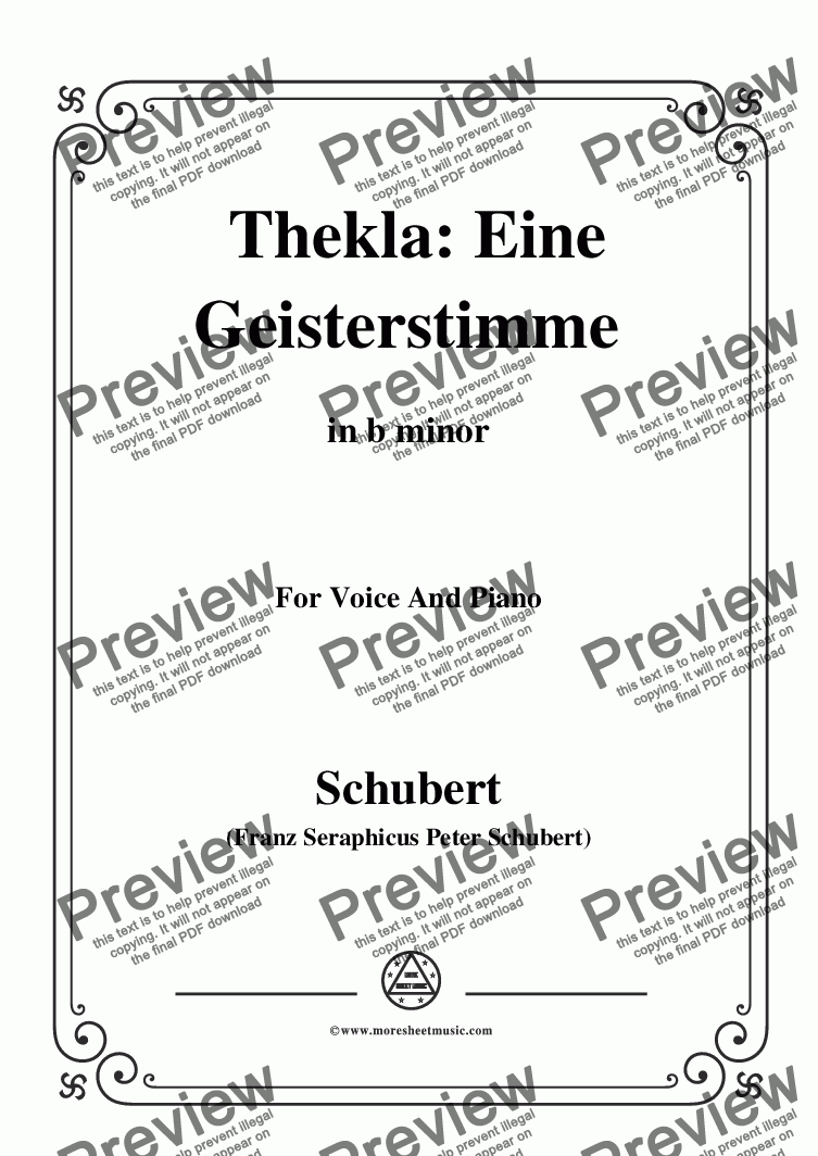 page one of Schubert-Thekla Eine Geisterstimme(Thekla A Spirit Voice),in b minor,for Voice&Pno