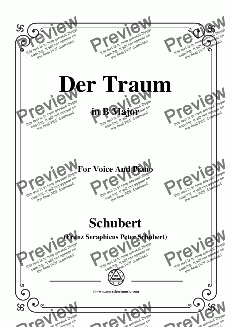 page one of Schubert-Der Traum,Op.172 No.1,in B Major,for Voice&Piano