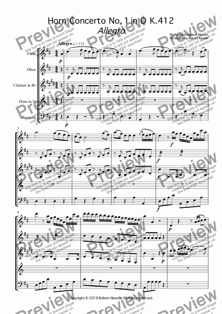 page one of Allegro from Horn  Concerto  No. 1 in  D  K.412