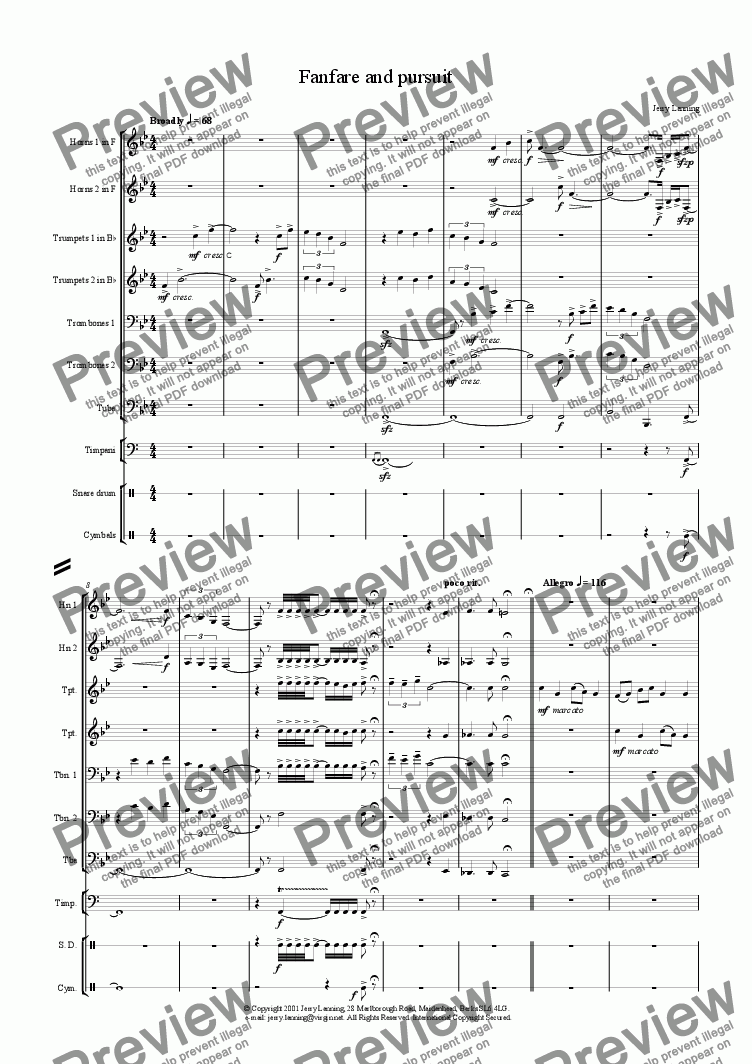 page one of Fanfare and Pursuit (small ensemble)
